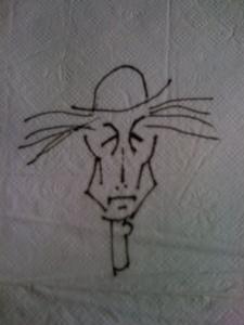 John Hartford, sketch of himself on a napkin