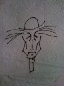 John Hartford, sketch of himself on a napkin