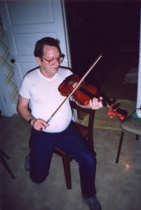 Lawrence Haley with Ed Haley's fiddle, 1991