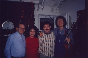 Lawrence Haley, Pat Haley, Steve Haley, and John Hartford at a Christmas Party, Nashville, TN, 1991-1994