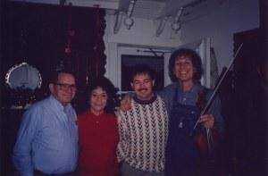 Lawrence Haley, Pat Haley, Steve Haley, and John Hartford at a Christmas Party, Nashville, TN, 1991-1994