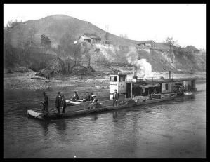 H.M. Stafford and pushboat, Johnson County, Kentucky, 1904