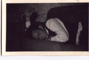 Lawrence Haley, asleep after work, 1950s