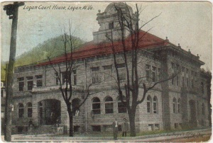 Logan Court House, built 1904, destroyed by fire 1911.