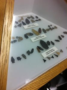 Arrowheads located in the Bulltown Museum, Braxton County, WV, 2013.