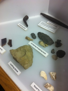 Native American artifacts in the Bulltown Museum, Braxton County, WV, 9 February 2013.