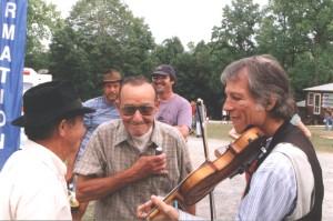 Carol Hardway, Wilson Douglas, and John Hartford at Cliff Top, West Virginia, 1995