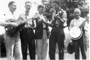 Johnny Hager on extreme right holding a banjo, Boone County, WV, 1950s.