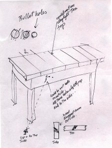 John Hartford's Sketch of the Murder Table, 1995.