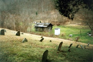 Bob Mullins Cemetery, looking down toward Ticky George Hollow, Harts Creek, Logan County, WV
