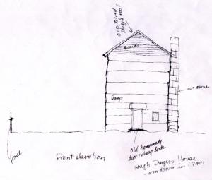 John Hartford's sketch of the Hugh Dingess home, October 1995