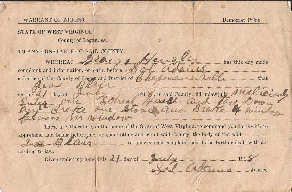 Jess Blair Warrant 1918 2