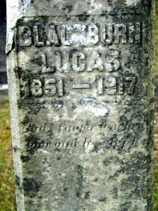 Blackburn Lucas grave at Green Shoal, Lincoln County, WV, 2003