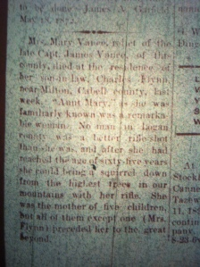 Mary Vance, wife of Jim Vance, of Hatfield-McCoy feud fame, Logan County Banner, October 4, 1894