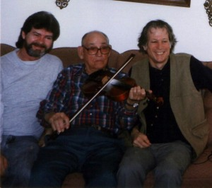 Roger Cooper, Abe Keibler, and John Hartford at South Shore, KY, 1996