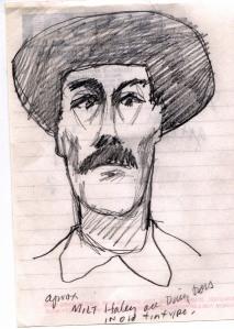 John Hartford's sketch of Milt Haley, drawn in Kenova, WV, 1996