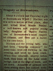 Wyatt Harless kills Maude Pauley, Logan County Banner, August 1, 1901