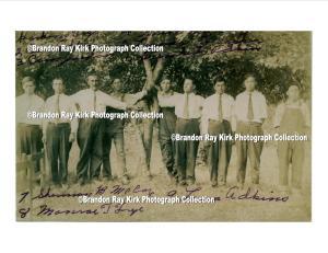 """(L-R): Harkins Fry, Cain Adkins Jr., Canaan D. Jordan, Green McCoy Jr., Leander Frazier, Winchester Adkins, Sherman McCoy, Monroe Fry, and Alonzo """"Lon"""" Adkins."""
