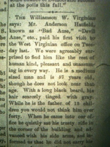 "Anderson ""Devil Anse"" Hatfield story, Ceredo (WV) Advance, March 4, 1896"
