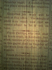 Frank Phillips death, Logan County (WV) Banner, Thursday, July 14, 1898