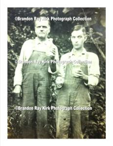 Jim Kirk (left) holding a glass container of moonshine