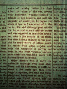 William Straton obituary, Logan (WV) Banner, July 2, 1903