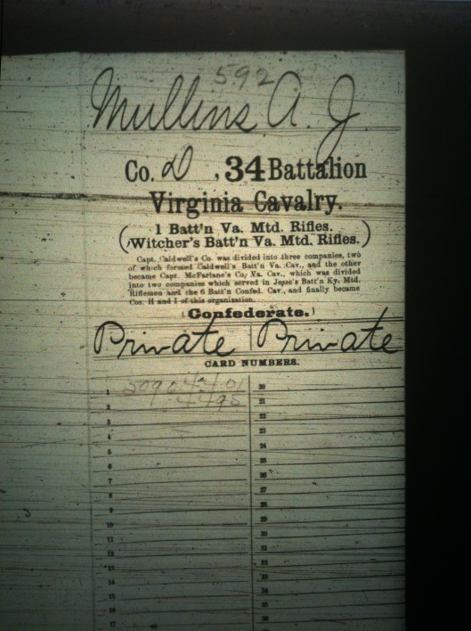 A J Mullins military record 1