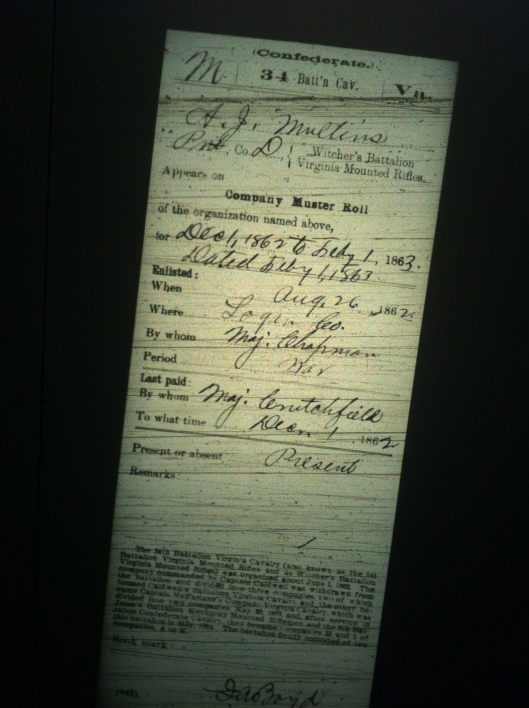 A J Mullins military record 3