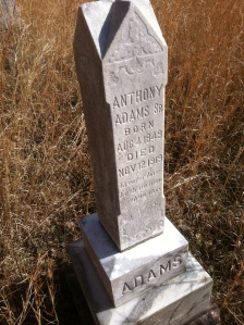 Anthony Adams grave, located on Harts Creek near the mouth of Buck Fork, Logan County, WV, 2011