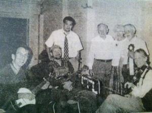 (L-R) Peter Even, Mike Compton, Brandon Kirk, J.P. Fraley, Nancy McClellan, Paul David Smith, and John Hartford