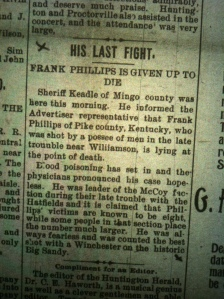 "His Last Fight: Frank Phillips is Given Up to Die,"" Huntington (WV) Advertiser, 28 September 1895"