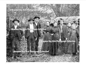 Dave Dingess (second from left) with Adams family members, Harts Creek, Logan County, WV, 1890s