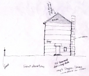 Hugh Dingess home, sketch by John Hartford based on the memories of Harve and Maude Dingess of Smokehouse Fork of Harts Creek, Logan County, WV, Oct 1995