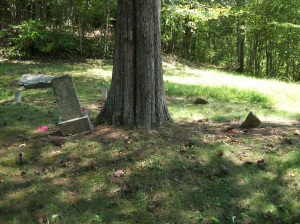 Jackson Mullins grave (to the right, marked by rocks)