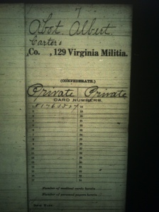 —Albert Abbott military record, 129th Virginia Militia, Carter's Company, 1861. Albert Abbott, resident of Abbott's Branch near Green Shoal, Lincoln County, WV, was my great-great-great-grandfather.