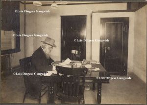 Enoch Baker, a native of Nova Scotia who once worked timber on Harts Creek, is shown here years later at his Huntington office.
