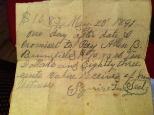 Squire Toney promissory note to Allen B. Brumfield (1891)