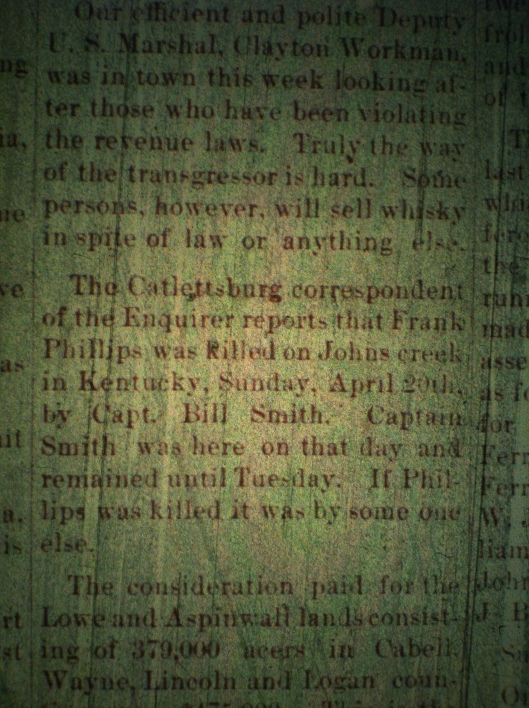 Bill Smith kills Frank Phillips LCB 05.01.1890