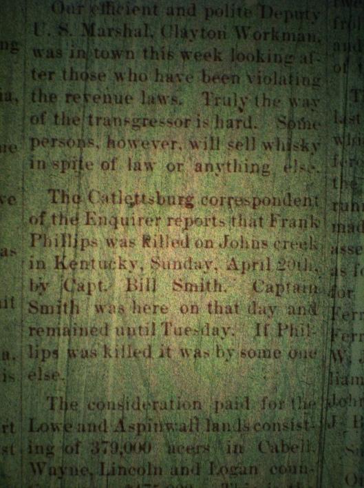 Bill Smith kills Frank Phillips LCB 05.01.1890