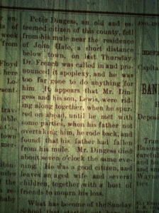 "Peter ""Coffee Pete"" Dingess obituary, Logan County (WV) Banner, 23 January 1890."