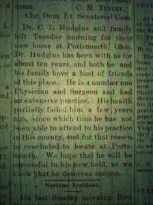 Doc Hudgins moves LCB 09.25.1890 1