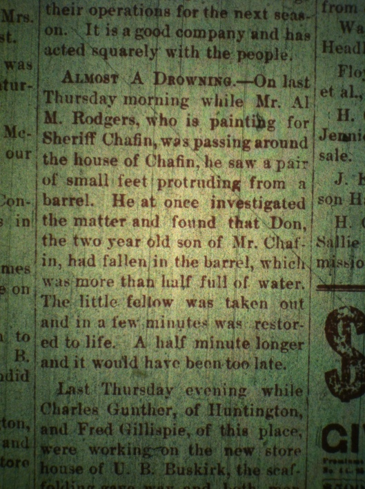 Don Chafin nearly drowns LCB 05.15.1889 1
