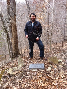 Here I stand at the Haley-McCoy grave on West Fork of Harts Creek, Lincoln County, WV. I first saw the grave in 1995.