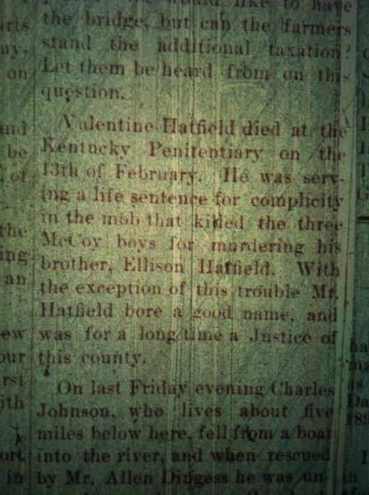 Valentine Hatfield Dies LCB 10.10.1889