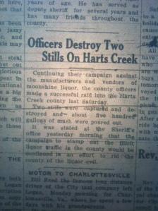 Harts Creek stills destroyed, Logan County Banner, 19 June 1925.