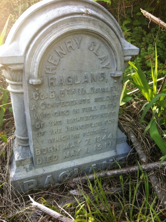 Henry Clay Ragland grave, located at Old City Cemetery in Logan, WV. 1 May 2015