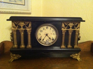 """Enos """"Jake"""" Adkins clock. Jake Adkins (1825-1907) purchased this clock and a barrel of dishes when it came up the Guyan to Ferrellsburg, WV."""