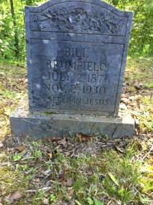 Bill Brumfield grave, located at Cole Branch of Big Harts Creek, Lincoln County, WV