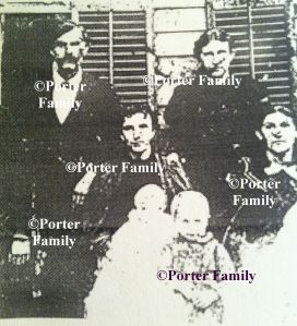 John W. Runyon family, c.1900. Mr. Runyon, shown at back left, was a storekeeper and timberboss in Hart during the late 1880s. His wife, the former Mary M. Williamson, is shown at back right. Their daughters are also shown (l-r): Aquillia and Wealthy.