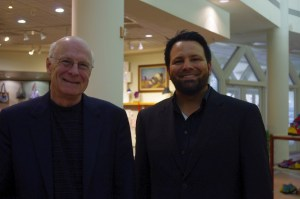"Here I am with West Virginia Poet Laureate Marc Harshman at West Virginia Writers Weekend, where I promoted my book, ""Blood in West Virginia: Brumfield v. McCoy."" 27 June 2015"